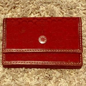 Red jacquard and leather Coach card wallet